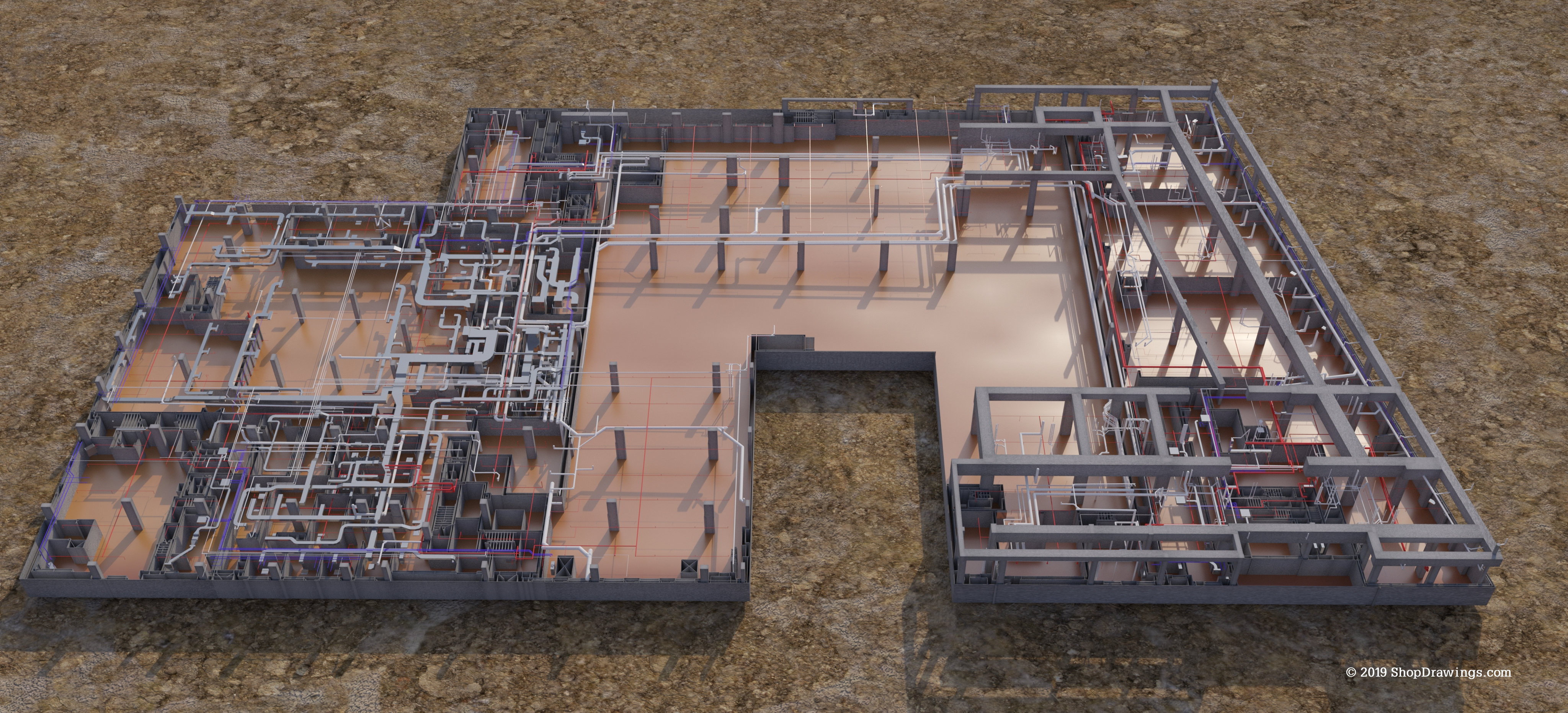 Coney 1st floor - Duct, HVAC piping, sprinklers, plumbing, structure
